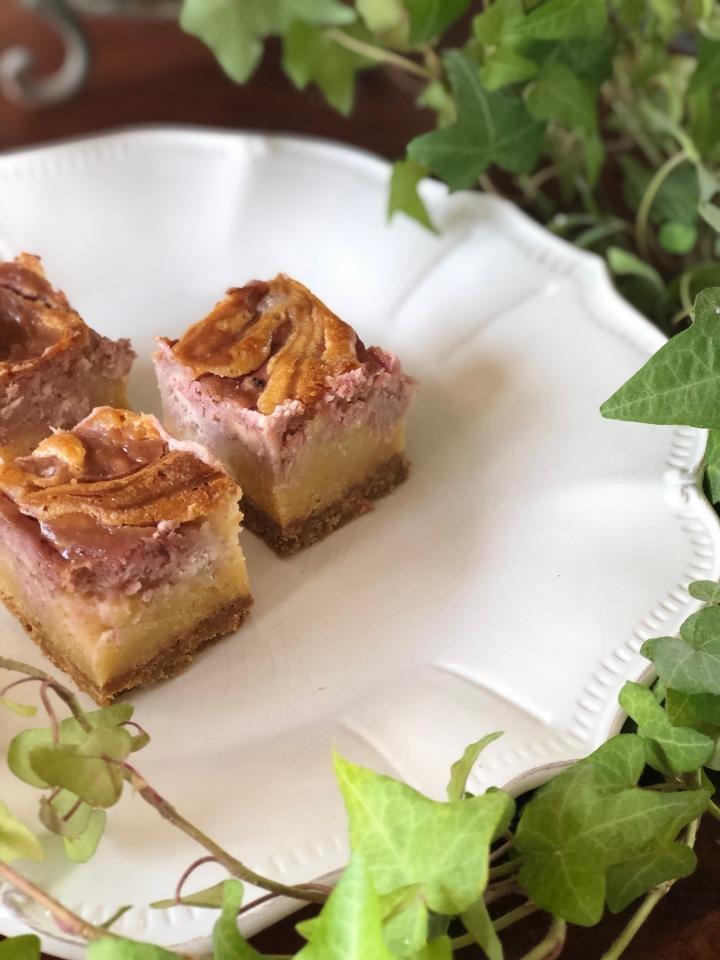 Fudgy blondie cheesecake m.hindbærswirl