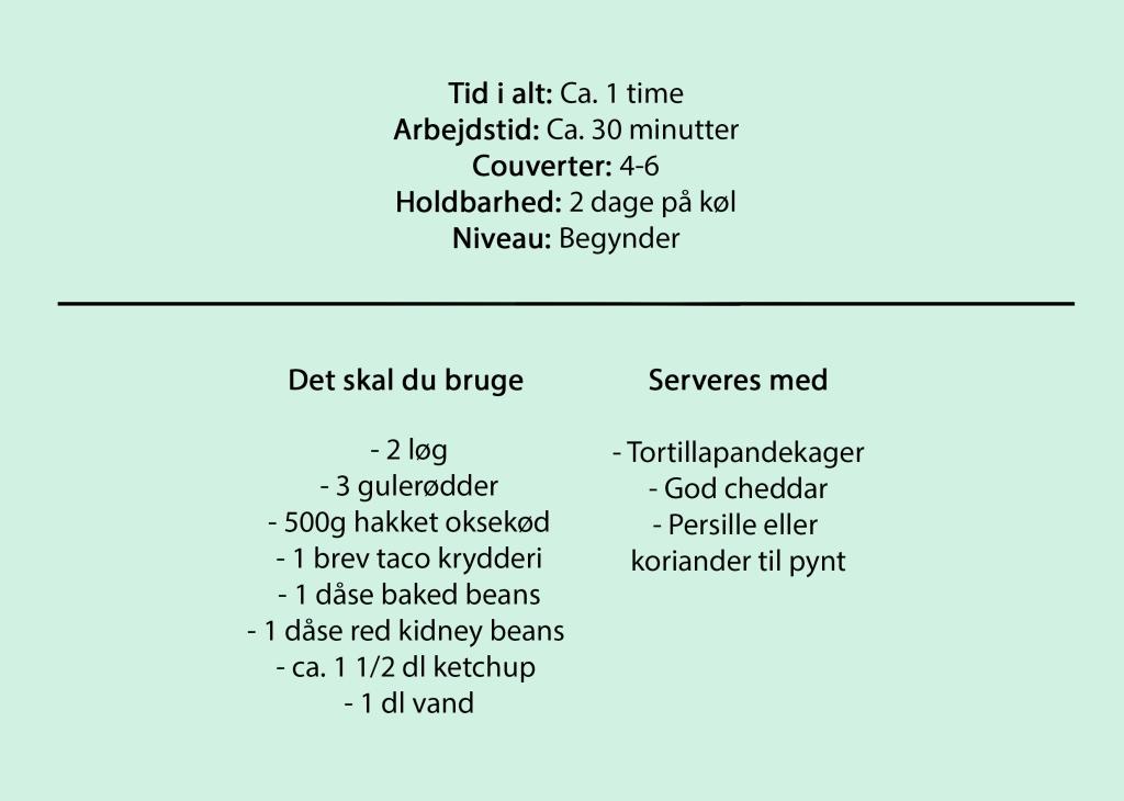 Tid i alt: Ca. 1 time Arbejdstid: Ca. 30 minutter Couverter: 4-6 Holdbarhed: 2 dage på køl Niveau: Begynder  Det skal du bruge  - 2 løg - 3 gulerødder - 500g hakket oksekød - 1 brev taco krydderi - 1 dåse baked beans - 1 dåse red kidney beans  - ca. 1 1/2 dl ketchup  - 1 dl vand  Serveres med  - Tortilla pandekager - God cheddar - Persille eller koriander til pynt