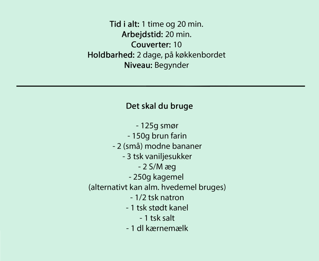 Tid i alt: 1 time og 20 min. Arbejdstid: 20 min. Couverter: 10 Holdbarhed: 2 dage, på køkkenbordet Niveau: Begynder  Det skal du bruge  - 125g smør - 150g brun farin - 2 (små) modne bananer - 3 tsk vaniljesukker - 2 S/M æg - 250g kagemel  (alternativt kan alm. hvedemel bruges) - 1/2 tsk natron - 1 tsk stødt kanel - 1 tsk salt - 1 dl kærnemælk