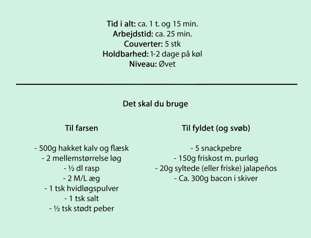 Tid i alt: ca. 1 t. og 15 min. Arbejdstid: ca. 25 min. Couverter: 5 stk Holdbarhed: 1-2 dage på køl Niveau: Øvet  Det skal du bruge  Til farsen  -500g hakket kalv og flæsk -2 mellemstørrelse løg -½ dl rasp -2 M/L æg -1 tsk salt -½ tsk stødt peber  Til fyldet (og tilbehør)  -5 snackpebre -150g friskost m. purløg -20g syltede (eller friske) jalapeños -Ca. 300g bacon i skiver